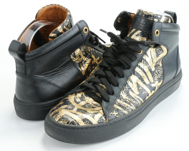 Item - Black/Gold Graffiti Hedo Leather High-top Sneakers Shoes