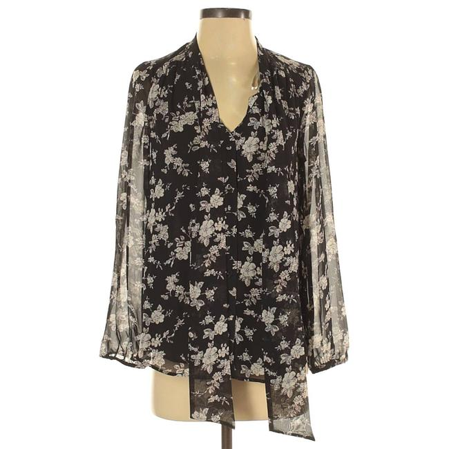 Item - Black New Womens Sheer Lined Floral Blouse Size 6 (S)