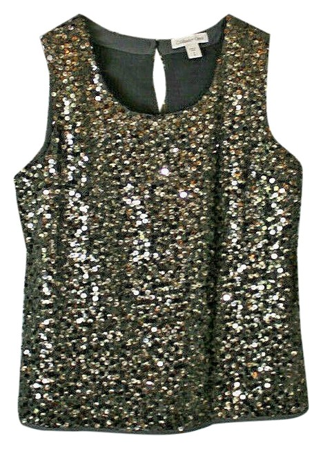 Item - Party Sequin Shell Gray/Gold Top