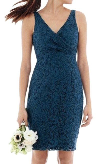Item - Acropolis Blue Sara In Leavers Lace Short Cocktail Dress Size 6 (S)