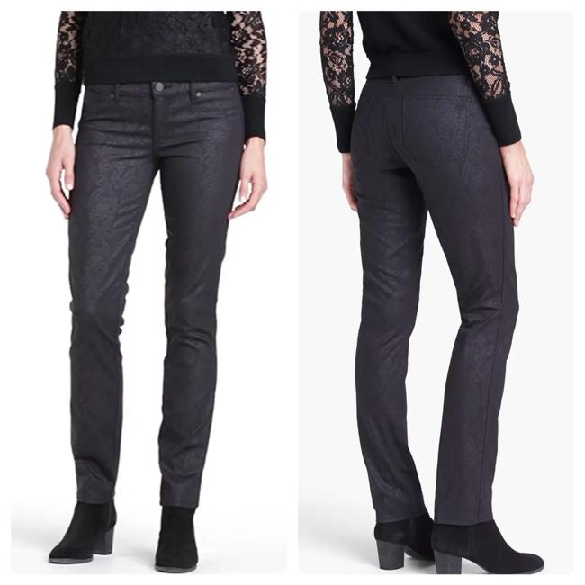 Item - Black Dark Rinse 'honour' Print Stretch 24 (00) Skinny Jeans Size 00 (XXS, 24)