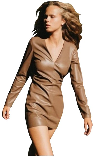 Item - Brown XS Faux Leather Mini New Cocktail Dress Size 2 (XS)