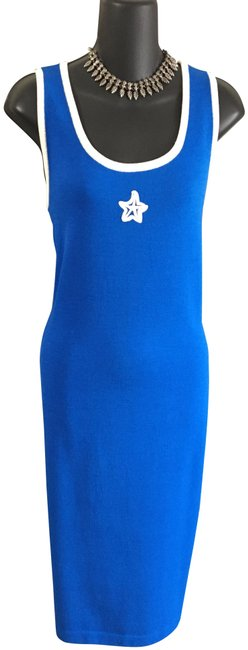 Item - Blue Knit Teal White Mid-length Work/Office Dress Size 10 (M)
