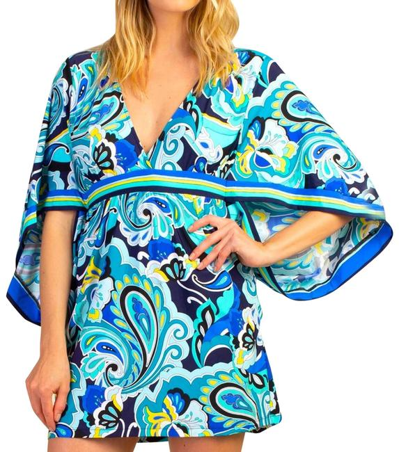 Item - Blue Multi Ipanema Tunic Resort Wear Sm Cover-up/Sarong Size 6 (S)
