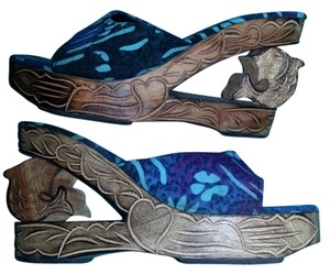 Nativewear Designs Vintage Batik Wood Carving teal, blue & purple Sandals