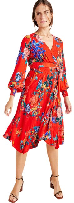 Item - Red New Boswell Textured Wrap Tunic Short Casual Dress Size Petite 6 (S)