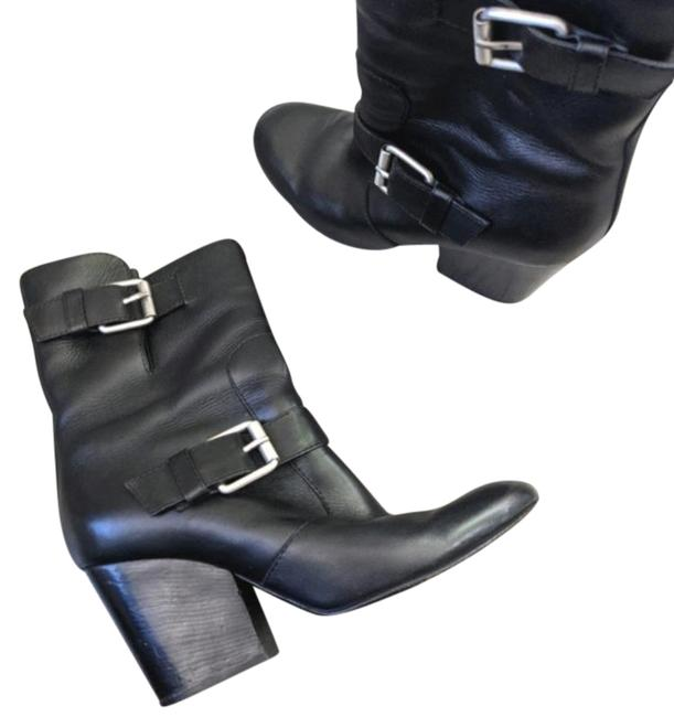 Item - Silver Black Buckle Heeled Boots/Booties Size EU 37.5 (Approx. US 7.5) Regular (M, B)