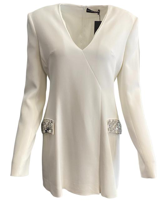 Item - White / Silver Deep V Mid-length Night Out Dress Size 10 (M)