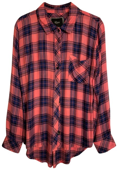 Item - Pink and Blue Hunter Button-down Top Size 4 (S)