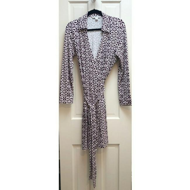Item - Purple and Cream Mid-length Work/Office Dress Size 14 (L)