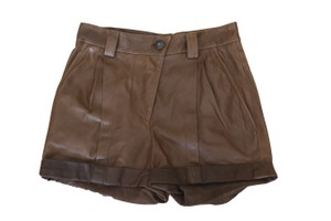 Brunello Cucinelli Leather Real Leather Mini/Short Shorts Brown
