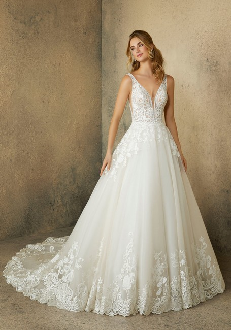 Item - Ivory/Champagne Lace Tulle Robin 2089 Traditional Wedding Dress Size 12 (L)