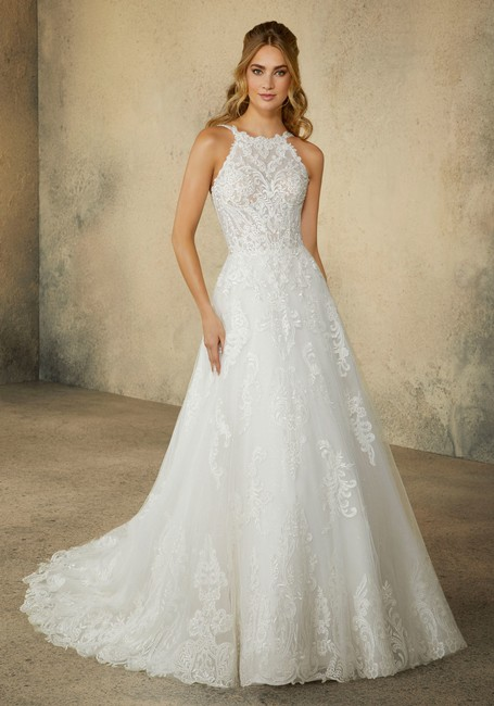Item - Ivory Tulle and Lace Rebecca Traditional Wedding Dress Size 10 (M)