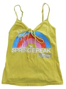 PINK Vs Break Rainbow Spaghetti Strap Drawstring Top Yellow