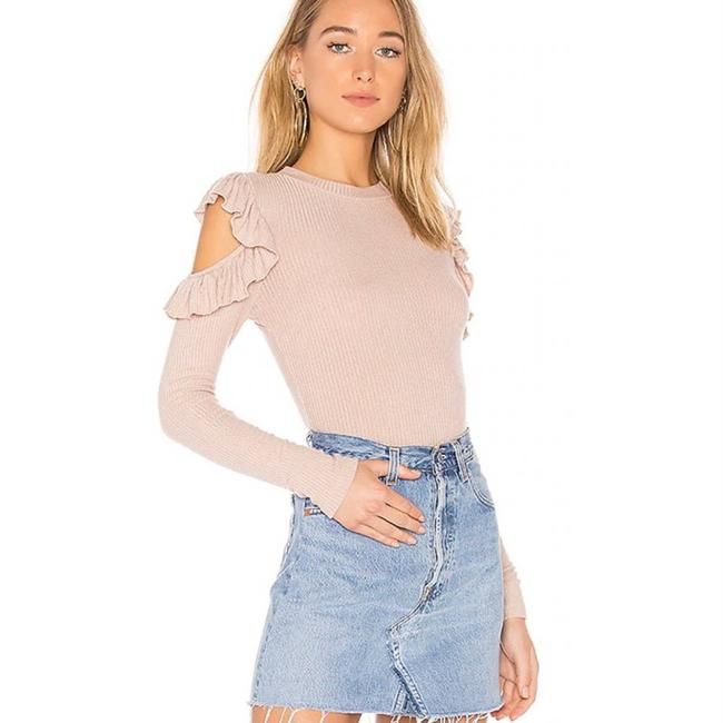 Item - Ruffle Cold Shoulder Blush Pink Sweater