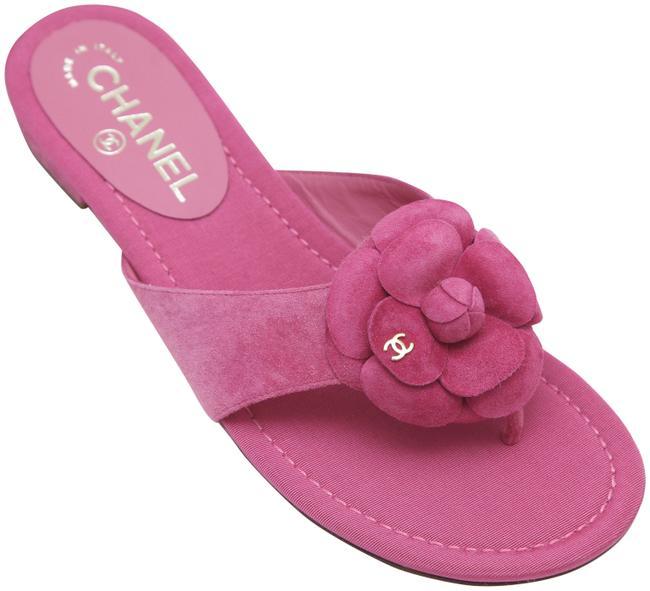 Item - Pink Suede Leather Thong Slide Camellia Cc Gold 38c Sandals Size EU 38 (Approx. US 8) Wide (C, D)