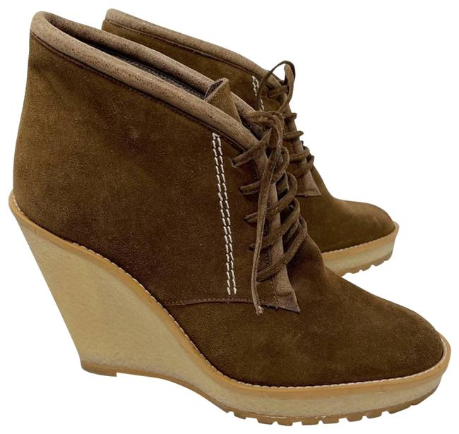 Item - Brown Suede Lace Up Wedge Ankle Tan 9 Boots/Booties Size EU 39 (Approx. US 9) Regular (M, B)