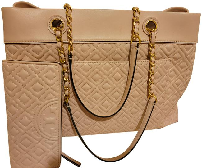 Item - Fleming Quilted with Matching Wallet Light Pink Leather Tote