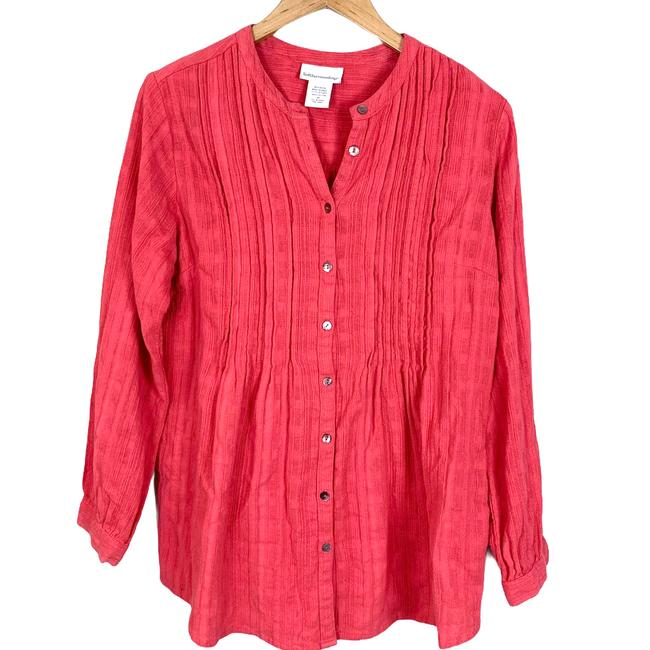 Item - Pink Coral Crosshatch Textured Pintuck Swing Blouse M Tunic Size 8 (M)