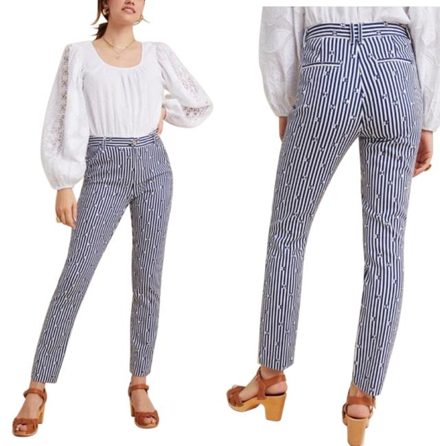 Item - Blue White Essential Slim Trousers New Pants Size 0 (XS, 25)