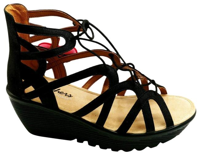 Item - Black Womens Parallel Terrace Lace-up Slingback Wedge Sandals Size US 8 Narrow (Aa, N)