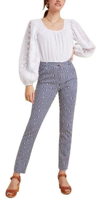 Item - Blue White Essential Slim Trousers New Pants Size 4 (S, 27)