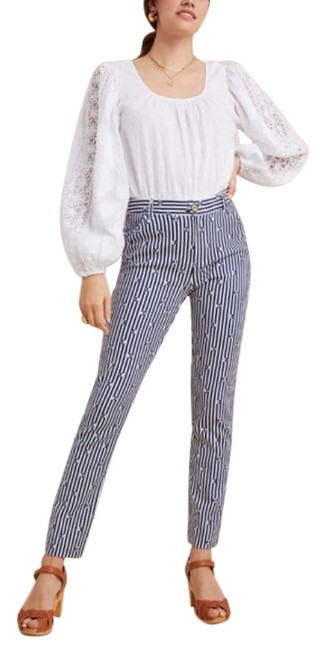 Item - Blue White Essential Slim Trousers New Pants Size 6 (S, 28)