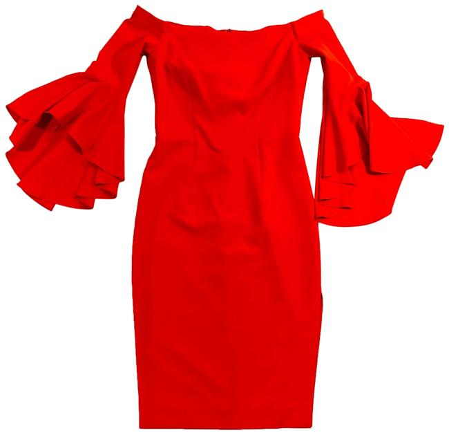 Item - Red Kendall In Italian Cady Mid-length Cocktail Dress Size 6 (S)