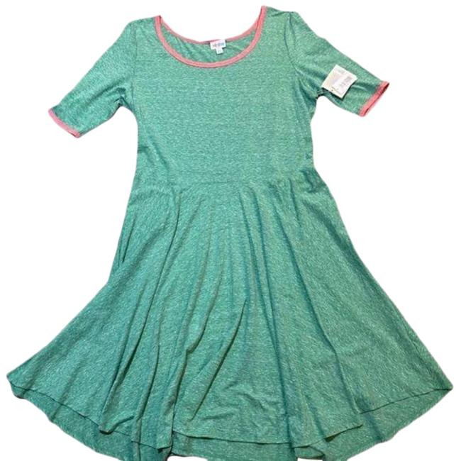 Item - Pink Green XS Nicole Mid-sleeve Scoop Neck Mid-length Short Casual Dress Size 0 (XS)