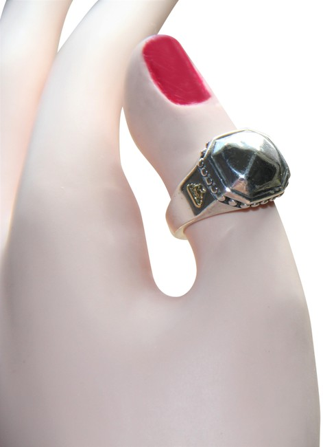Item - Sterling Silver 18 Kt Gold Pyramid Dome Caviar Ring