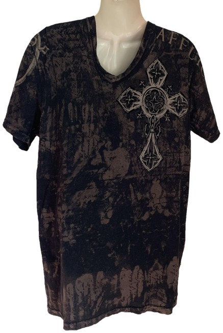 Item - Black Brown Celtic Cross and Wings Tee Shirt Size 12 (L)