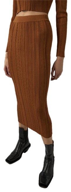 Item - Brown Knit Ribbed Midi Bodycon Stretchy Skirt Size 8 (M, 29, 30)