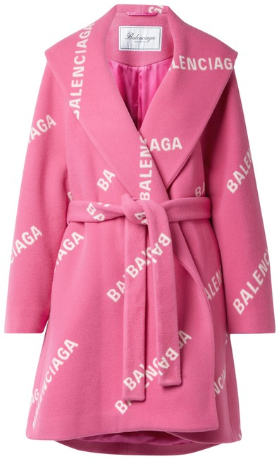 Item - Pink Oversized Belted Printed Wool Cashmere and Silk-blend Coat Size 10 (M)