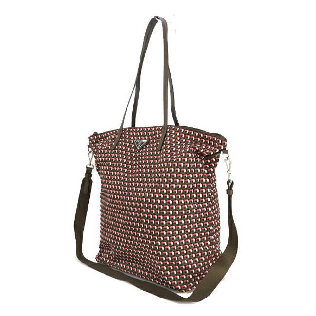 Item - Bag 1bg189 Total Pattern Print 2way Ladies Men Black / Brown / Pink Nylon Tote