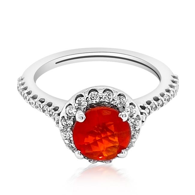 Item - Red 0.79ct Natural Fire Opal 14k White Gold 4gm Ring