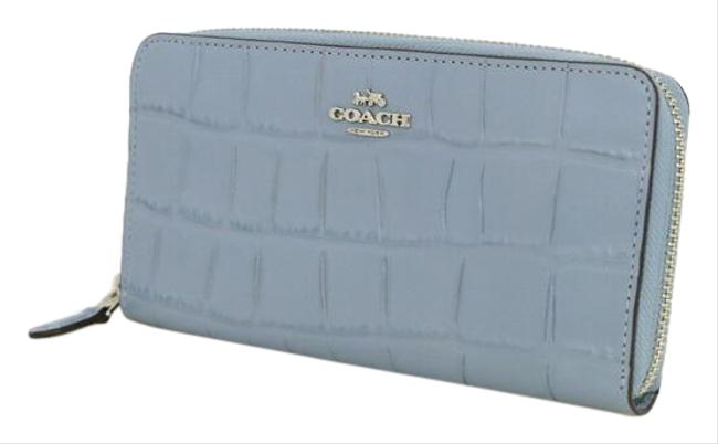 Item - Light Blue Embossed Leather Round Zipper F39767 Women's Wallet