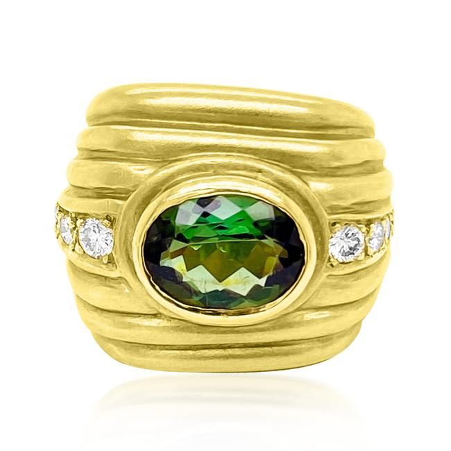 Item - Green 3ct Tourmaline 18k Yellow Gold Ring