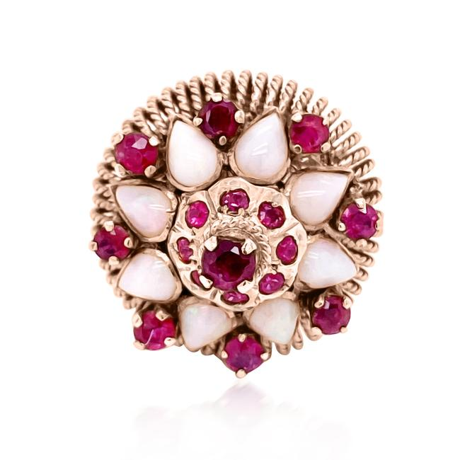 Item - Red & White 14k Yellow Gold Ruby and Opal Ring