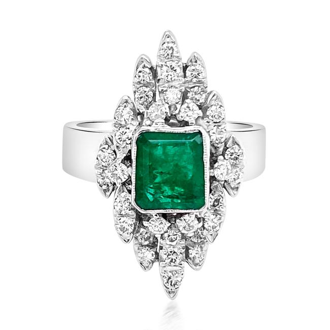 Item - Green 14k White Gold Emerald and Diamond Ring