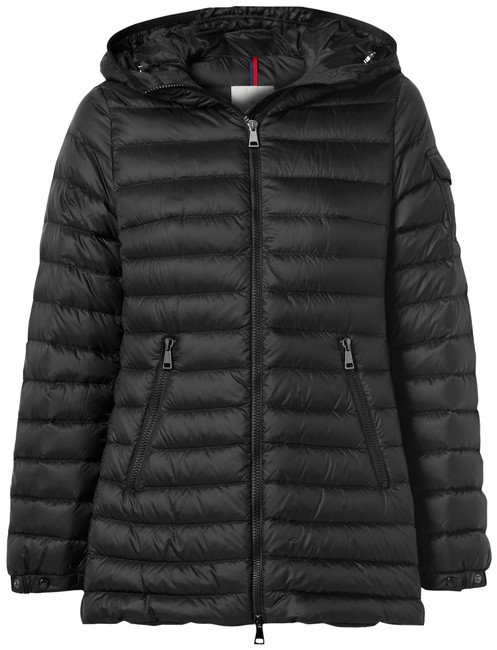Item - Black Ments Hooded Quilted Shell Down Jacket Coat Size 4 (S)
