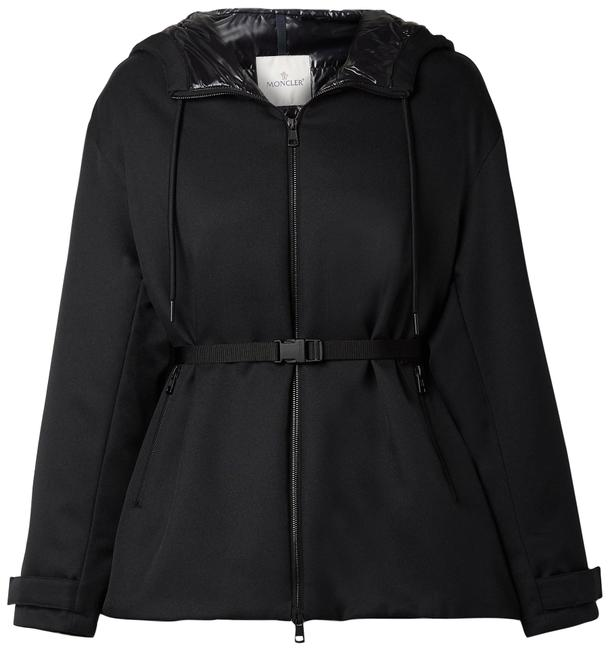 Item - Black Gredi Hooded Glossed Shell-trimmed Gabardine Down Jacket Coat Size 12 (L)