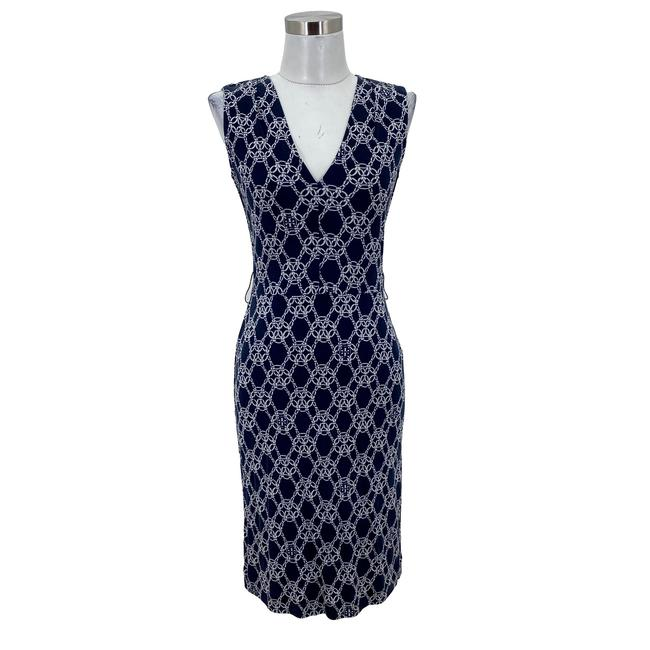 Item - Blue N97 Designer Small 6 Printed V-neck Sheath Mid-length Work/Office Dress Size 4 (S)