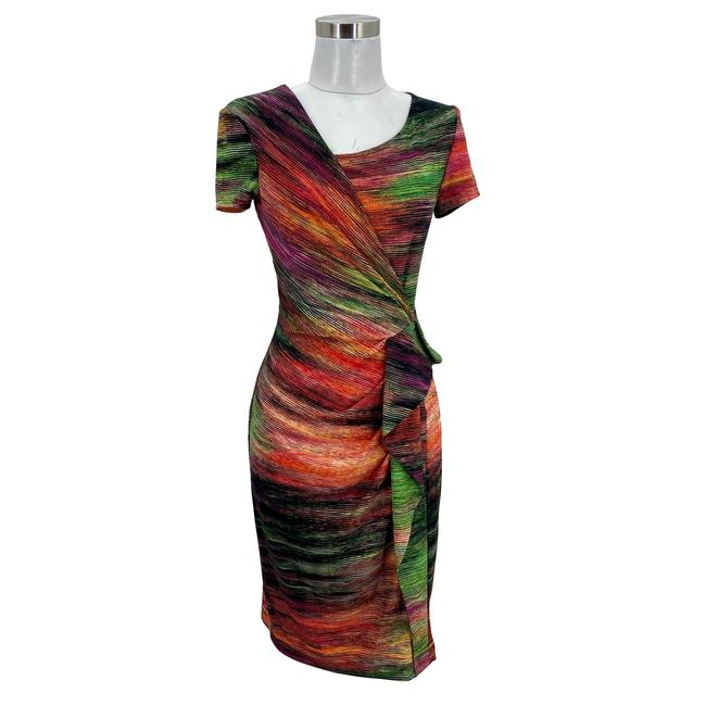 Item - Multi-color XS N640 Designer 2 Sheath Asymmetrical Neck Mid-length Work/Office Dress Size 0 (XS)
