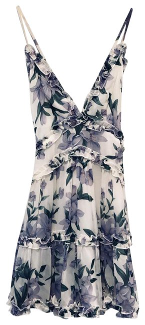 Item - Lavender and White Floral Chiffon Short Casual Dress Size 6 (S)