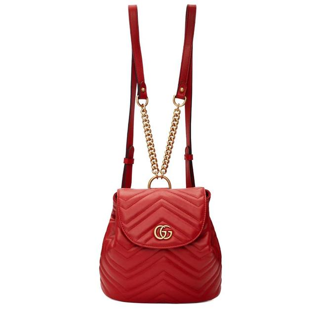 Item - Marmont New Gg Quilted Mini Red Leather Backpack