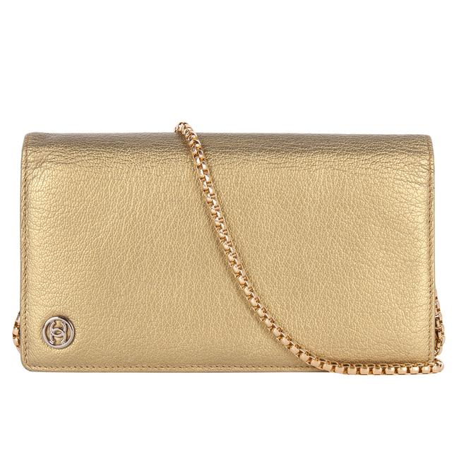 Item - Wallet on Chain 9409 Gold Leather Cross Body Bag