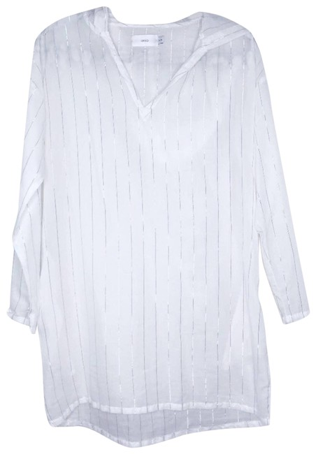 Item - White XS Gold Striped Dress Hooded Xsmall Cover-up/Sarong Size 2 (XS)
