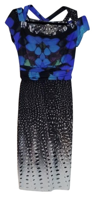 Item - Blue Mid Length Abstract Print Short Night Out Dress Size 4 (S)