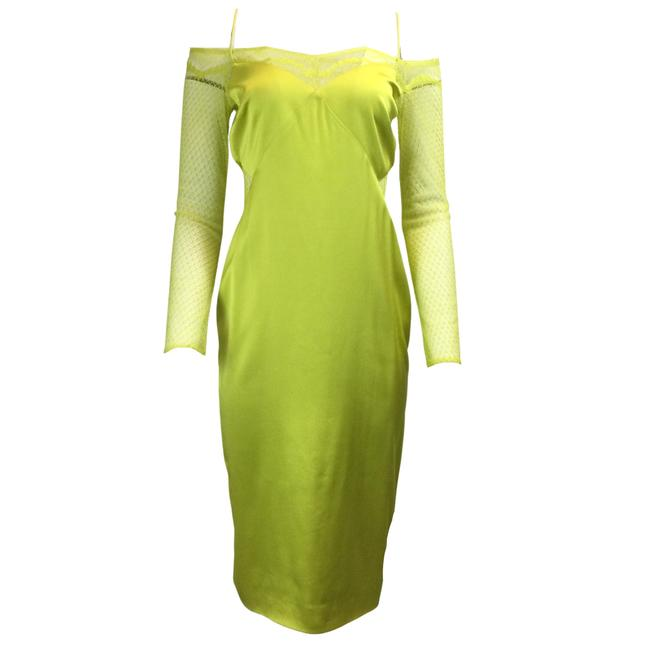Item - Lime Lace Sleeve Satin Formal Dress Size 6 (S)