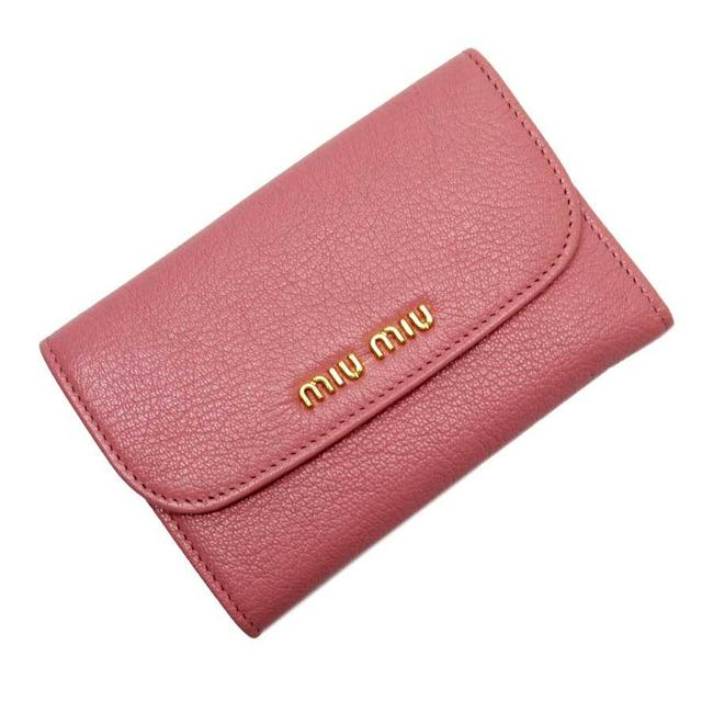Item - Gold / Pink W Hook Bi-fold Leather Wallet